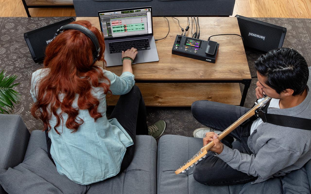 Aufnahme und Wiederverstärkung über das eingebaute USB Audio Interface